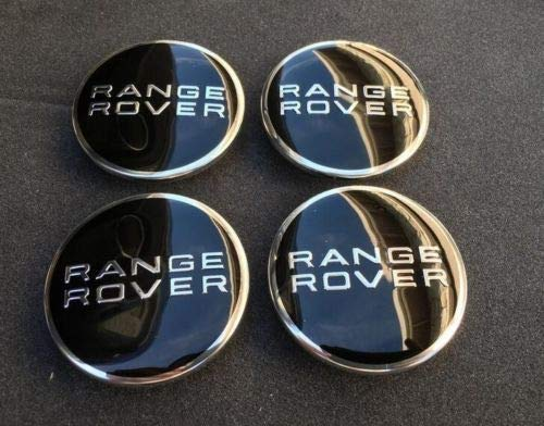 RANGE ROVER LOGO (SET OF 4) 63mm BLACK CENTER WHEEL HUB CAPS EMBLEM BADGE COVER