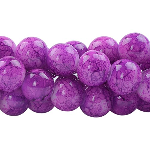 (RUBYCA 10mm 2 Strands Czech Glass Round Beads Purple Painted Colored String for Jewelry Making)