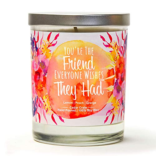 (You're The Friend Everyone Wishes They Had | Lemon, Peach, Orange | Luxury Scented Soy Candles | 10 Oz. Jar Candle | Made in USA | Decorative Aromatherapy | Thinking of You Gifts for Women and Men)