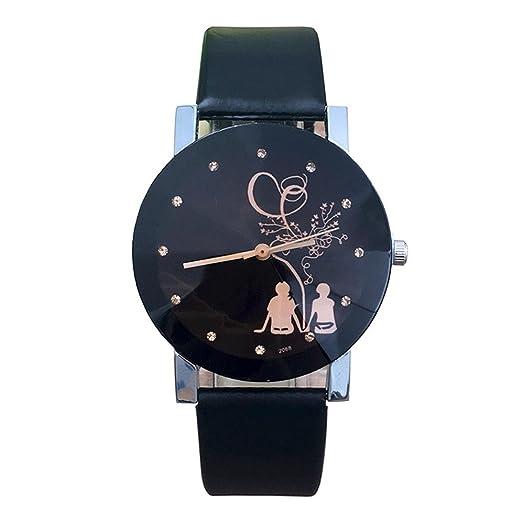 Relojes par de analógico estudiante para hombre y Mujer, QinMM reloj de acero inoxidable (