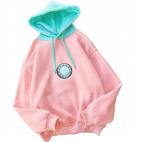 ZJSWCP Sweatshirt Iron Man Print Hoodies Women Autumn Winter Fleece Long Sleeve Sweatshirt Harajuku Patchwork Pink
