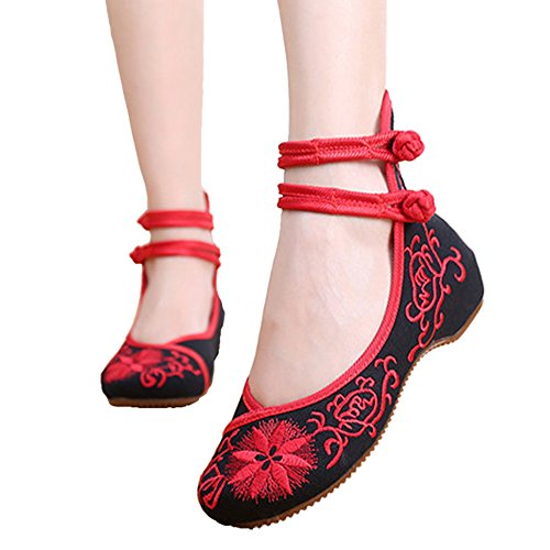 Embroidered 2 Ballet ALBBG Women's Black Crafts Shoes Embroidery Black Style Flats Chinese Beige F7adnHq