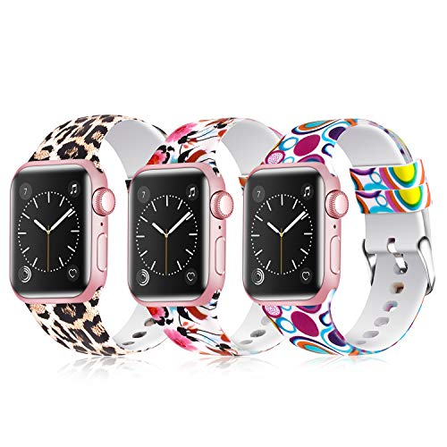 Greatfine Sport Band Compatible for Apple Watch Band 38mm 42mm 40mm 44mm,Soft Silicone Strap Replacement iWatch Bands Compatible with Apple Watch Series 4 3 2 1 (Z G-3 Pack G, 38mm/40mm)