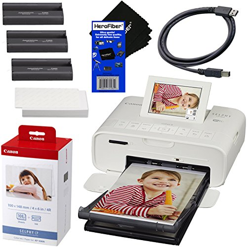 - Canon SELPHY CP1300 Wireless Compact Photo Printer (White) + Canon KP-108IN Color Ink Paper Set (Produces up to 108 of 4 x 6 Prints) + USB Printer Cable + HeroFiber Ultra Gentle Cleaning Cloth
