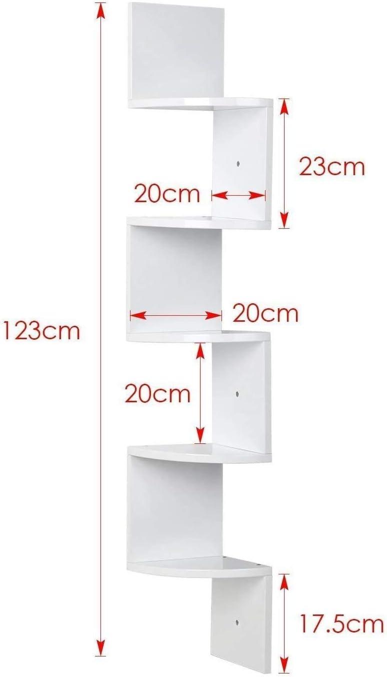 FiveFire Estanter/ía esquinera color blanco 48.42 pulgadas estanter/ía de pared de 5 niveles en zigzag unidad de estantes flotantes