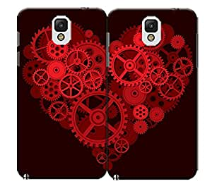 Pinellia Shop Two Flaps Red Axletree Heart For Lovers TPU Hard Phone Case for Samsung Galaxy Note 3