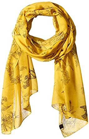 Joules Women's Wensley Longline Printed Scarf, Antique/Gold Floral, One Size