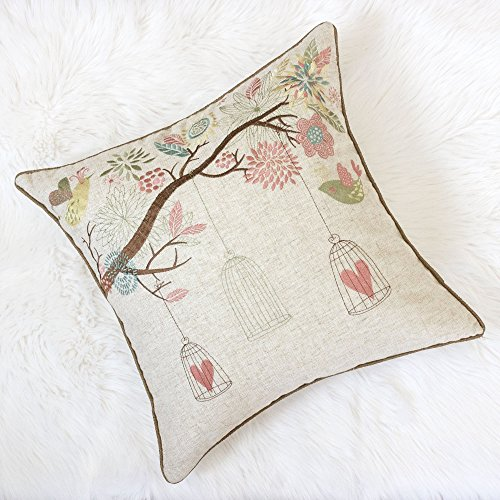 Homey Cozy Embroidered Linen Throw Pillow Cover, Decorative Square Couch Cushion Pillow Case Rustic Shabby Chic Garden 20 x 20 Inch, Cover Only