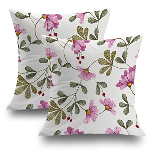 Shrahala Floral Pillow Covers, Decorative Pillowcases 18x18 inch Set of 2 Vintage Seamless Floral Pattern Art Design Cushion Case for Sofa Bedroom Car Throw Pillow Covers Cushion Cover 45cm x 45cm