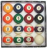 Deluxe Big Number Display Billiards 16 Ball Set - Standard 2.25 Inch Balls