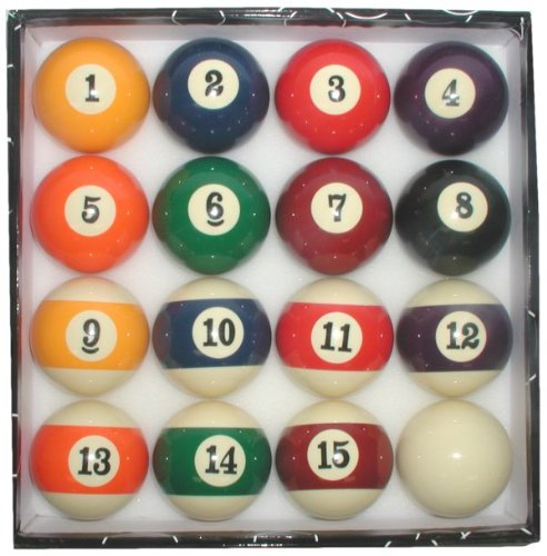 Deluxe Big Number Display Billiards 16 Ball Set - Standard 2.25 Inch Balls by TMG
