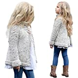 Franterd, Baby Girls Cute Woolen Kniting Sweater Outfit Kids Button Cardigan Coat Tops Clothes (Beige, 5T)