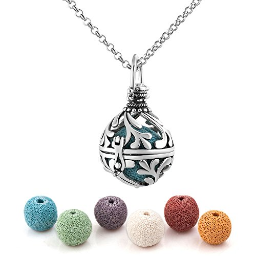 Heart of Charms Lava Stone Aromatherapy Essential Oil Diffuser Necklace Antique Locket Pendant with 32