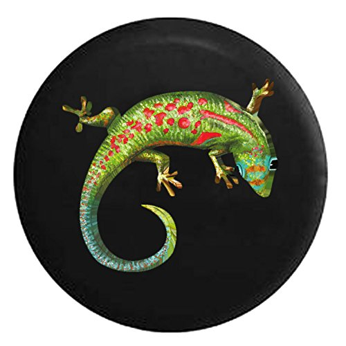 Island Gecko Green Blue Red Tropical LizardSpare Tire Cover Black 32 in ()