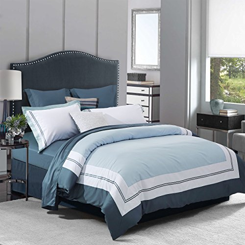 Superior Meridian 100% Cotton Duvet Cover Set with 2 Pillow Shams, Ocean Blue Colorblocked Duvet Cover with White Border and Rope Embroidery, Nautical Bedding Set - King/California King Size