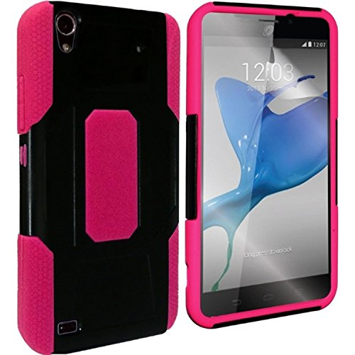 HR Wireless Robust Slim Hybrid Hard Plastic Silicone Cover Case for ZTE Rapido Z932C – Retail Packaging – Black/Hot Pink