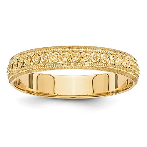- 14K Yellow Gold 3mm Design Etched Wedding Band