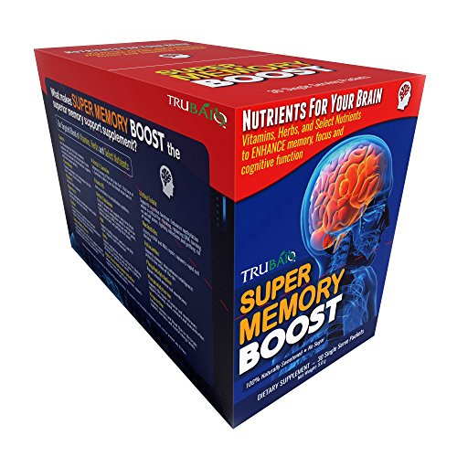 Super Memory Boost Packets 30 Day Supply, Healthy Brain Supplement for Added Attention, Focus and Cognitive Function - Edge Memory Edge Boost