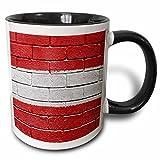 3dRose Carsten Reisinger Illustrations - National flag of Austria painted onto a brick wall Austrian - 11oz Two-Tone Black Mug (mug_155175_4)