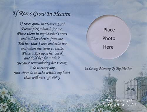 In Memory Of Mother If Roses Grow In Heaven Memorial Poem For Loss Of Mom With Pathway And Angels Background