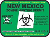 New Mexico zombie hunting permit decal bumper sticker