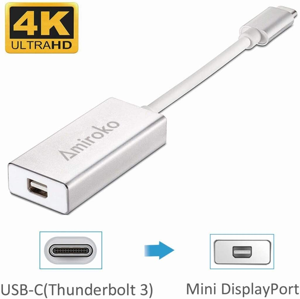 Amiroko USB-C to Mini DisplayPort Adapter, USB 3.1 Type C (Thunderbolt 3) to Mini DP Adapter 4K Compatible with Macbook Pro, Lenovo T470, to LED Cinema Display /Dell Monitor, etc, Silver