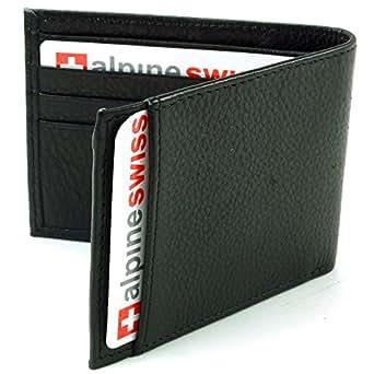 Alpine Swiss Men's Top Grain Leather Slimfold Wallet Black
