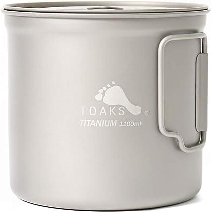 Toaks - Taza de camping de titanio puro, tamaño grande, se puede utilizar como cazuela (375 ml, 450 ml, 550 ml, 650 ml, 750 ml, 1100 ml), 1100ml