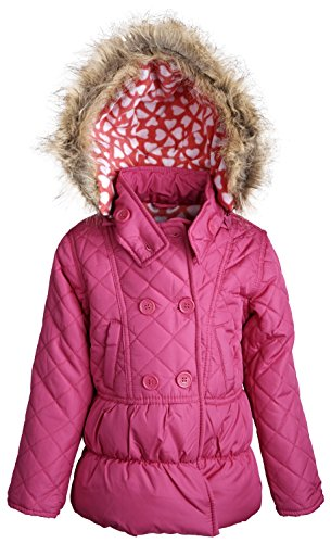 dollhouse Little Girls Down Alternative Warm Hooded Winter Puffer Bubble Coat - Raspberry (Size (The House Snowboard Jackets)