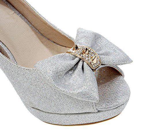 toe High Metal 3 Peep Silver Shomq168 7 Fashion Rivets 5 7 Heel Inches Womens 3 Shoes Sexyher Xq4wx0vx