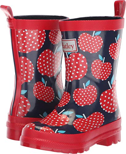 Hatley Girls Printed Rain Boot, Polka dot Apples, 11 M US Little Kid by Hatley