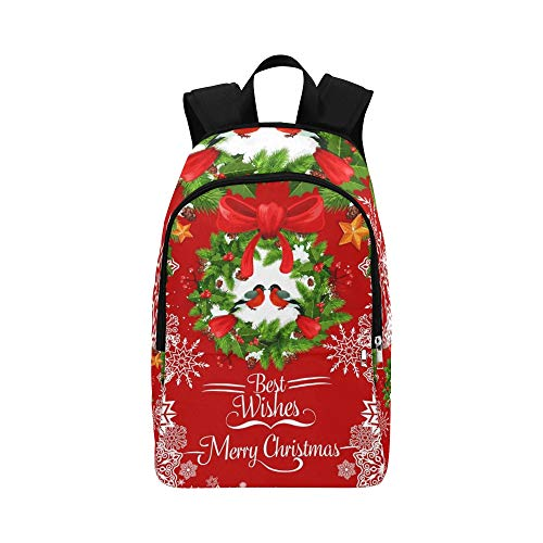 ENEVOTX Merry Christmas Greeting Card Holly Wreath Casual Daypack Travel Bag College School Backpack for Mens and Women