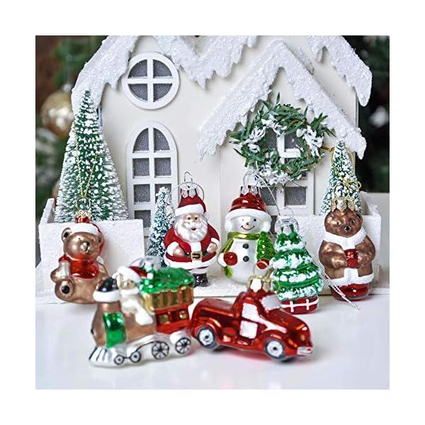 Valery Madelyn Palle di Natale Vetro Addobbi Natalizi Set, 9 Pezzi 5-7cm Classic Collection Red Green And White Palline di Natale Decoration for Addobbi Natalizi per Albero 6 spesavip