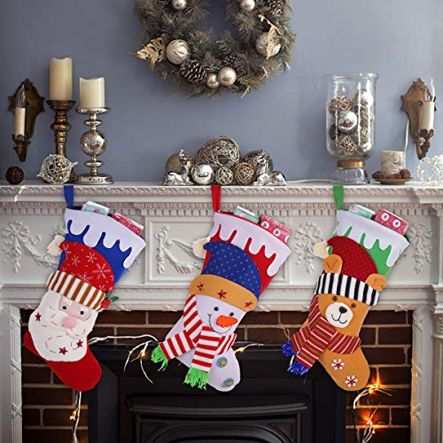 (HOWEI Christmas Stockings, 3PCS Lovely Christmas Stockings Santa,Snowman, Bear Character 18 Inch 3D Plush Hanging Tag Knit Border, Hanging in Xmas Tree Home Restaurant Hotel Decorations)