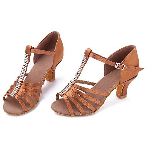Mujeres HIPPOSEUS ES227 Latinos 5cm Modelo de Marrón de Zapatos salón Profesionales Baile adxrwd