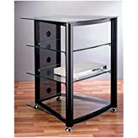 VTI RGR-404 4 Shelf Black Audio Rack - Black Poles / Tinted Black Glass