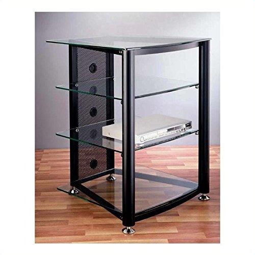VTI RGR-404 4 Shelf Black Audio Rack - Black Poles / Tinted Black Glass (4 Glass Shelf Audio Rack)