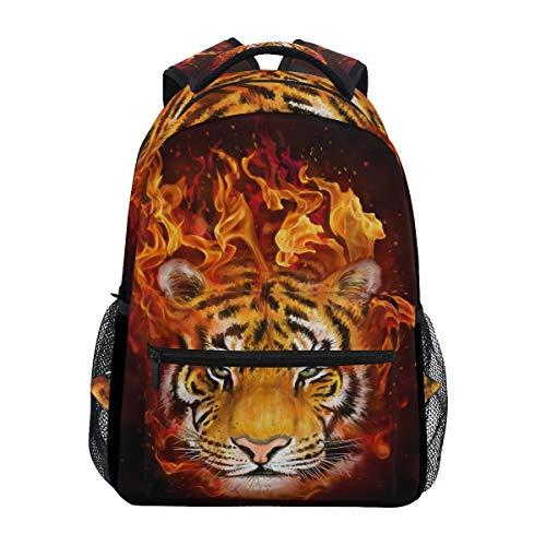(JOYPRINT Backpack Animal Tiger Flaming Shoulder Bag Daypack Travel Hiking for Boys Girls Men Women)