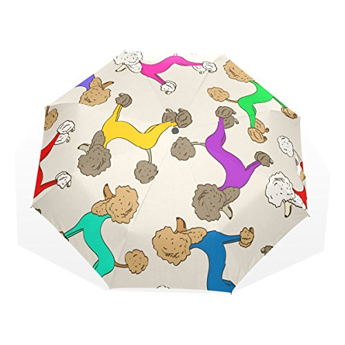 GUKENZ Colorful Poodle Dogs Puppy Travel Umbrella Lightweight Anti-UV Sun Rain Umbrella for Men Women and Kids, Windproof Folding Compact (Poodle Umbrella)