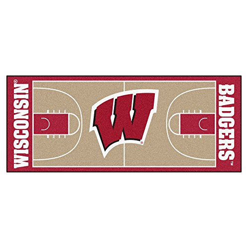 FANMATS NCAA University of Wisconsin Badgers Nylon Face Basketball Court Runner (Wisconsin Carpet Badgers)