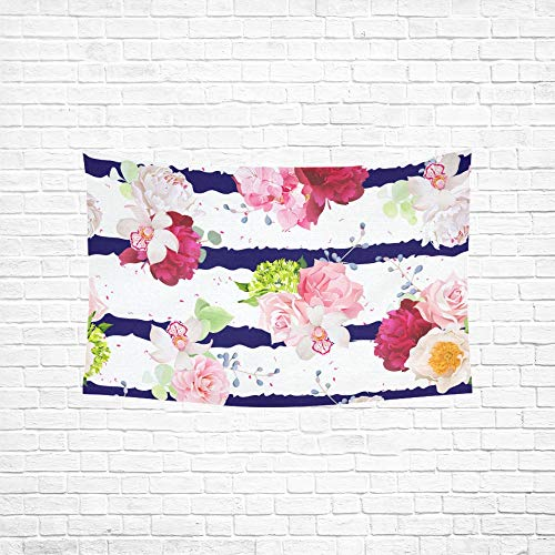 Jnseff Tapestry Navy Striped Bouquets Rose Peony Tapestries Wall Hanging Flower Psychedelic Tapestry Wall Hanging Indian Dorm Decor for Living Room Bedroom 6040inch (Gordmans Wall Art)