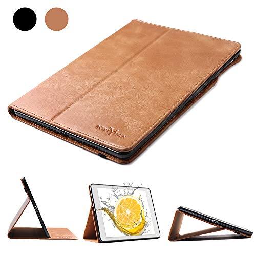 Boriyuan iPad Mini 5 2019/Mini 1 2 3 4 Leather Case Genuine Leather Soft TPU Back Smart Cover Protective Case with Auto Sleep/Wake Funciton (Brown)