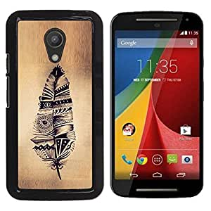 YOYOYO Smartphone Protección Defender Duro Negro Funda Imagen Diseño Carcasa Tapa Case Skin Cover Para Motorola MOTO G 2ND GEN II - plumas indio rústico pergamino nativa