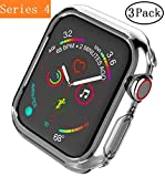 Apple Watch Series 4 Case 44mm,Monoy [3 - Pack] Soft TPU Protective Cover Bumper Case for iWatch Series 4 44mm (Clear, Series 4 44mm)