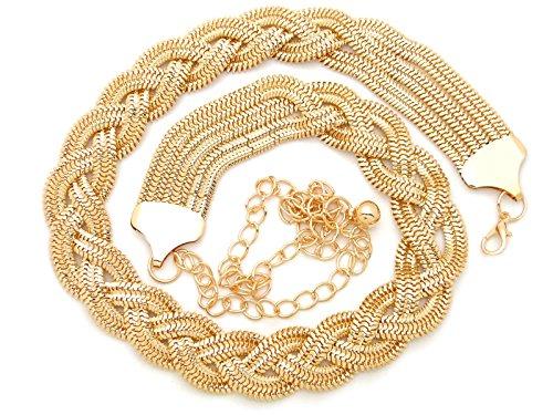 Fashion 21 Women's Braided Twist Metal Chain Belt in Gold, Silver Tone (Gold Tone)