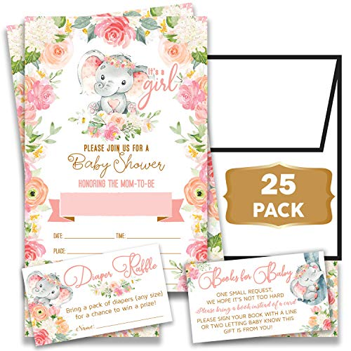 Invitation Baby Shower (Elephant Boho Floral - Baby Shower Pink Elephant Invitations Girl with Envelopes and Diaper Raffle Tickets. Set of 25 Fill in The Blank Style Invites with Envelopes - Baby Shower)