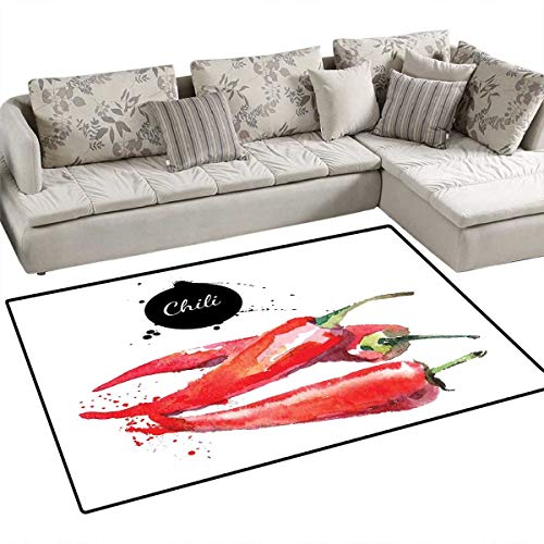 Food Area Rugs for Bedroom Hand Drawn Watercolor Illustration of Chili Pepper Spicy Ingredient Door Mats for Inside Non Slip Backing 3'x5' Fern Green Vermilion Black