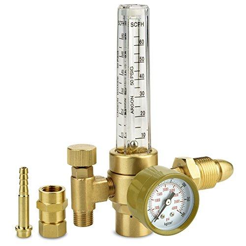 Argon CO2 Regulator - Welding Gas Flowmeter For TIG MIG - Brass Construction Flow Meter For Argon and CO2 Welder Tanks CGA580 by TerraBloom