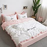 Fringe Bedding Sets White&Pink - MeMoreCool 100% Cotton Embroidery Princess Room Home Textiles Duvet Cover and Flat Sheet Queen Girls Gifts