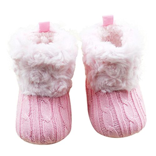 Baby Soft Sole Boots,Toponly Baby Snow Boots Kintting Soft Crib Shoes Toddler Boots (fashion Pink, 11) (Boot Faux Fur Sleeve)